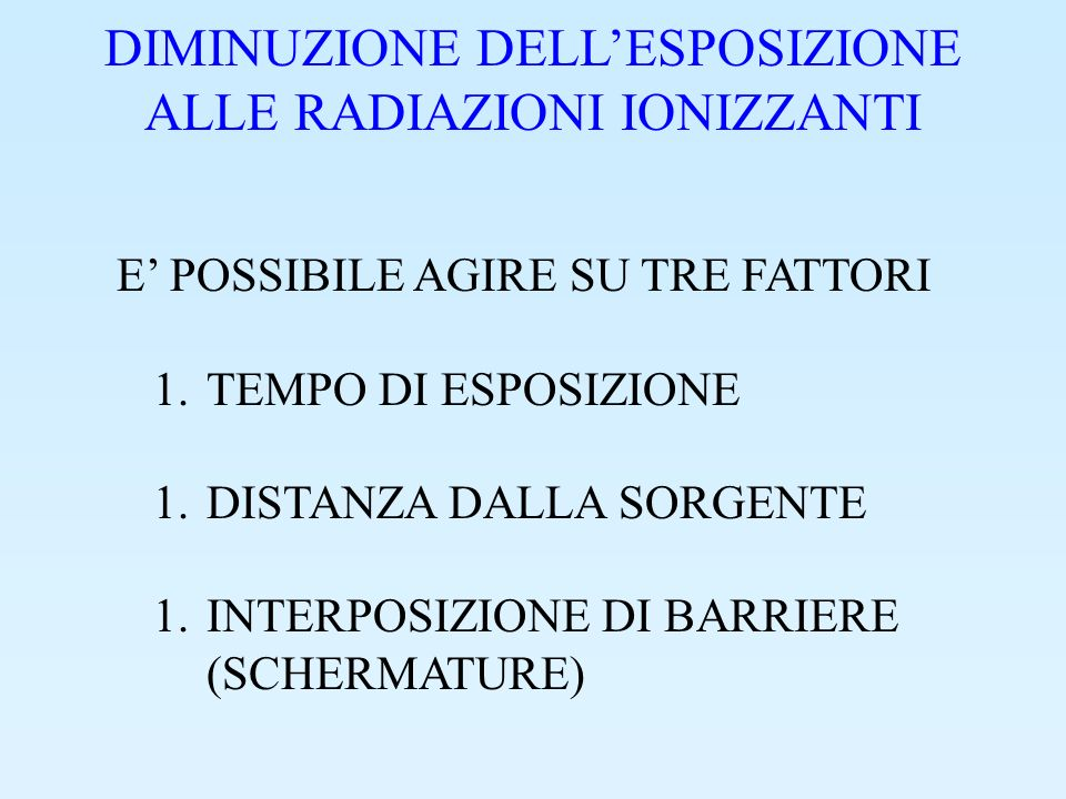 PROGETTAZIONE DI SCHERMATURE 1.SCEGLIERE I LIVELLI DI RADIAZIONE CHE SI DESIDERA OTTENERE NEGLI AMBIENTI PROTETTI 1.ANALIZZARE LE CARATTERISTICHE DEL CAMPO DI RADIAZIONE 1.PROGETTARE LE BARRIERE 1.FARE DEGLI ACCORGIMENTI PER LE SOLUZIONI DI CONTINUITA