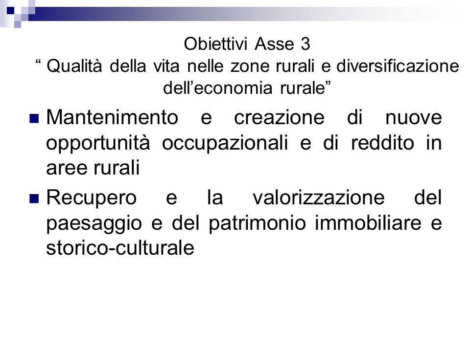 Obiettivi Asse 3 Qualità della vita nelle zone rurali e diversificazione delleconomia rurale Mantenimento e creazione di nuove opportunità occupaziona