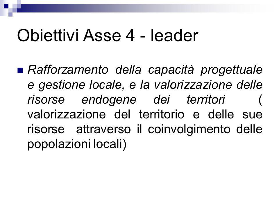 Obiettivi Asse 4 - leader Rafforzamento della capacità progettuale e gestione locale, e la valorizzazione delle risorse endogene dei territori ( valor