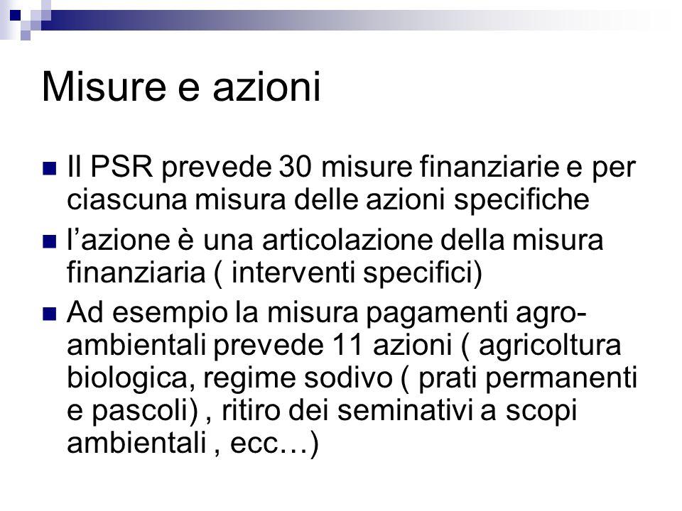 Misure e azioni Il PSR prevede 30 misure finanziarie e per ciascuna misura delle azioni specifiche lazione è una articolazione della misura finanziari