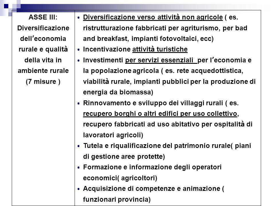 ASSE III: Diversificazione dell economia rurale e qualit à della vita in ambiente rurale (7 misure ) Diversificazione verso attivit à non agricole ( e