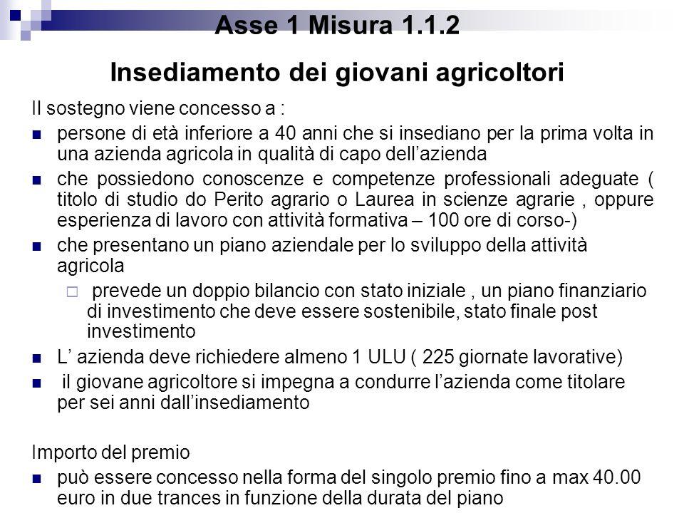 Asse 1 Misura 1.1.2 Insediamento dei giovani agricoltori Il sostegno viene concesso a : persone di età inferiore a 40 anni che si insediano per la pri