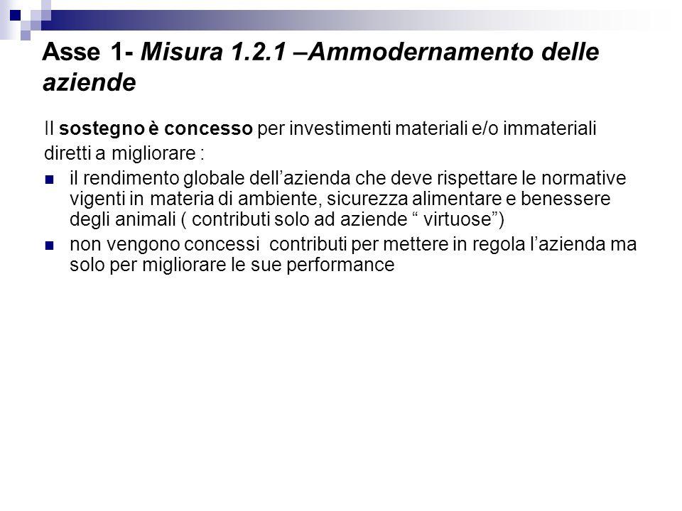Asse 1- Misura 1.2.1 –Ammodernamento delle aziende Il sostegno è concesso per investimenti materiali e/o immateriali diretti a migliorare : il rendime