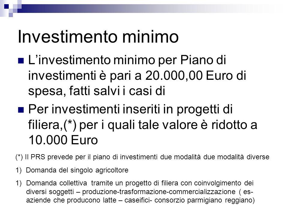 Investimento minimo Linvestimento minimo per Piano di investimenti è pari a 20.000,00 Euro di spesa, fatti salvi i casi di Per investimenti inseriti i