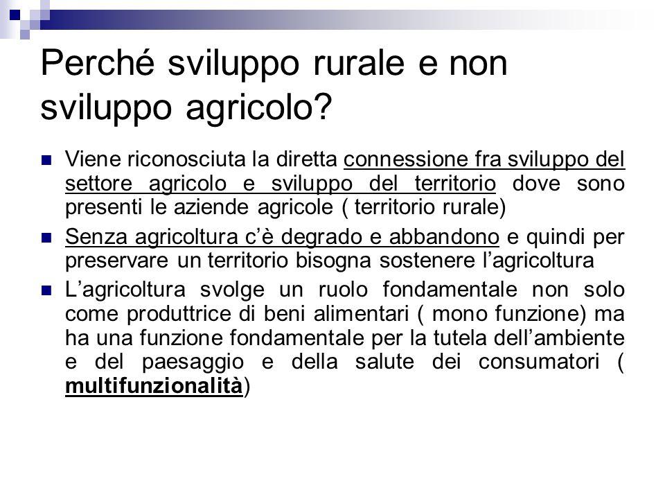 Perché sviluppo rurale e non sviluppo agricolo? Viene riconosciuta la diretta connessione fra sviluppo del settore agricolo e sviluppo del territorio