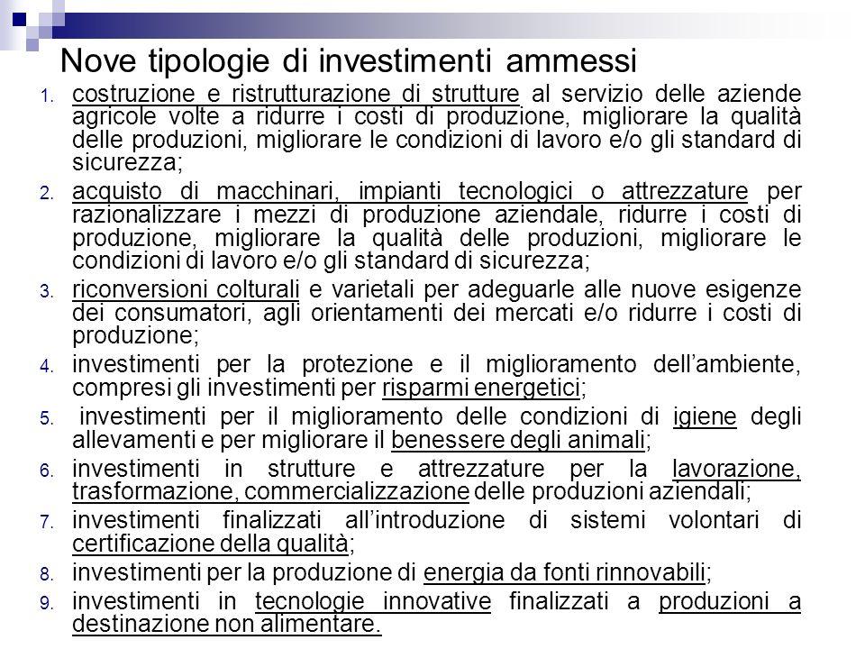 Nove tipologie di investimenti ammessi 1. costruzione e ristrutturazione di strutture al servizio delle aziende agricole volte a ridurre i costi di pr