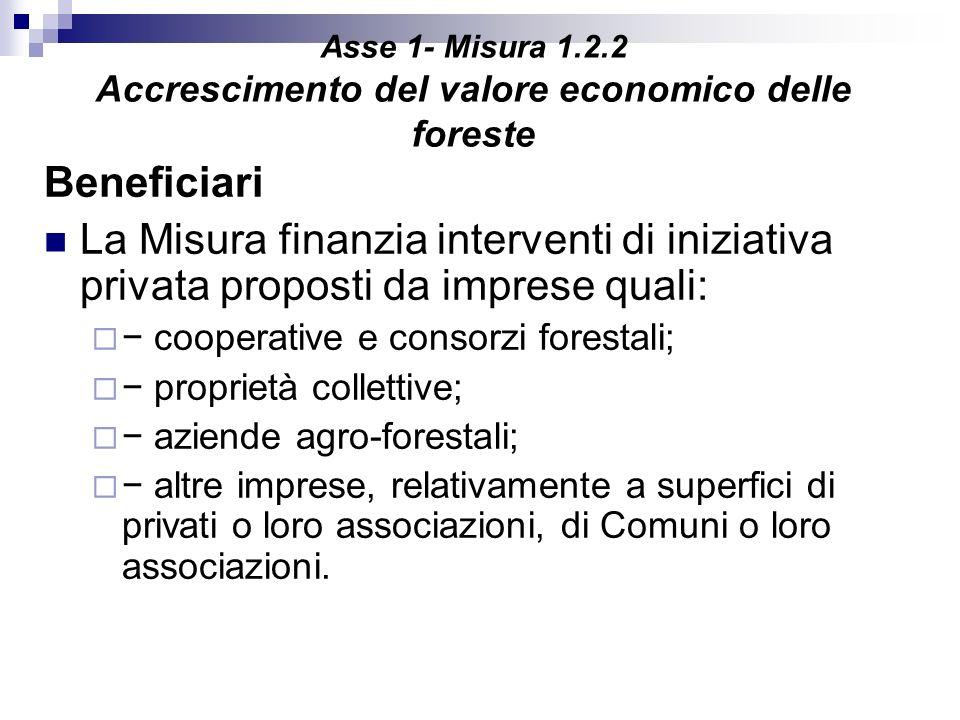 Asse 1- Misura 1.2.2 Accrescimento del valore economico delle foreste Beneficiari La Misura finanzia interventi di iniziativa privata proposti da impr