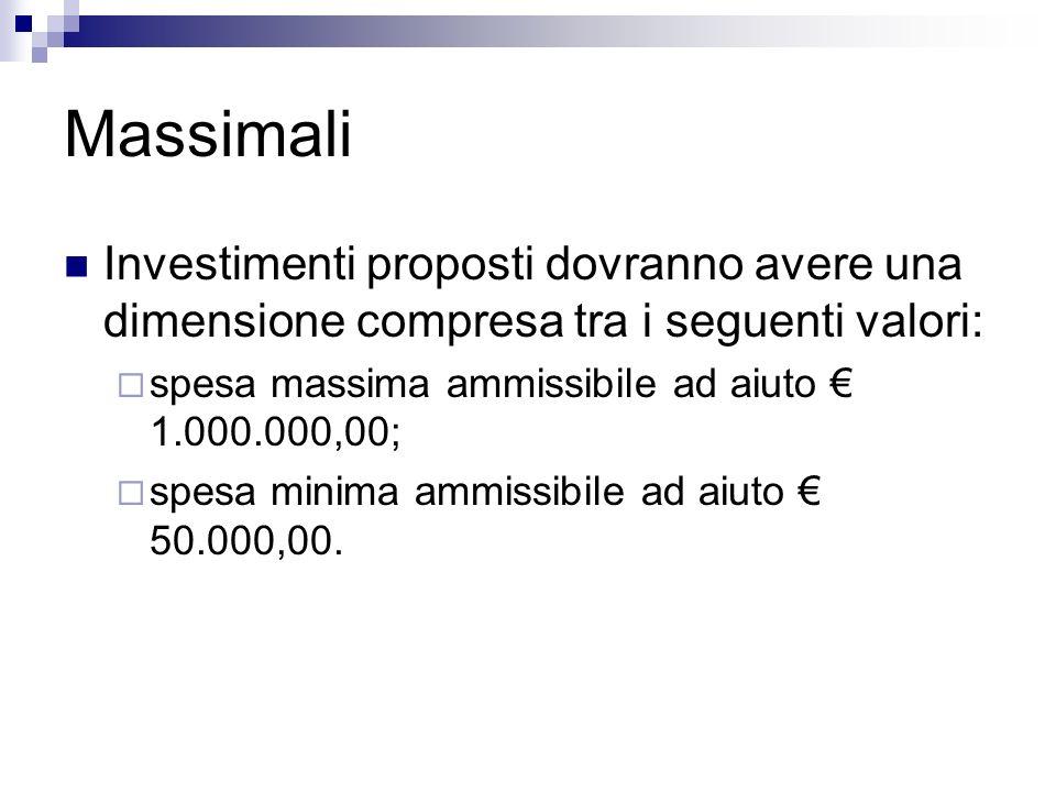 Massimali Investimenti proposti dovranno avere una dimensione compresa tra i seguenti valori: spesa massima ammissibile ad aiuto 1.000.000,00; spesa m