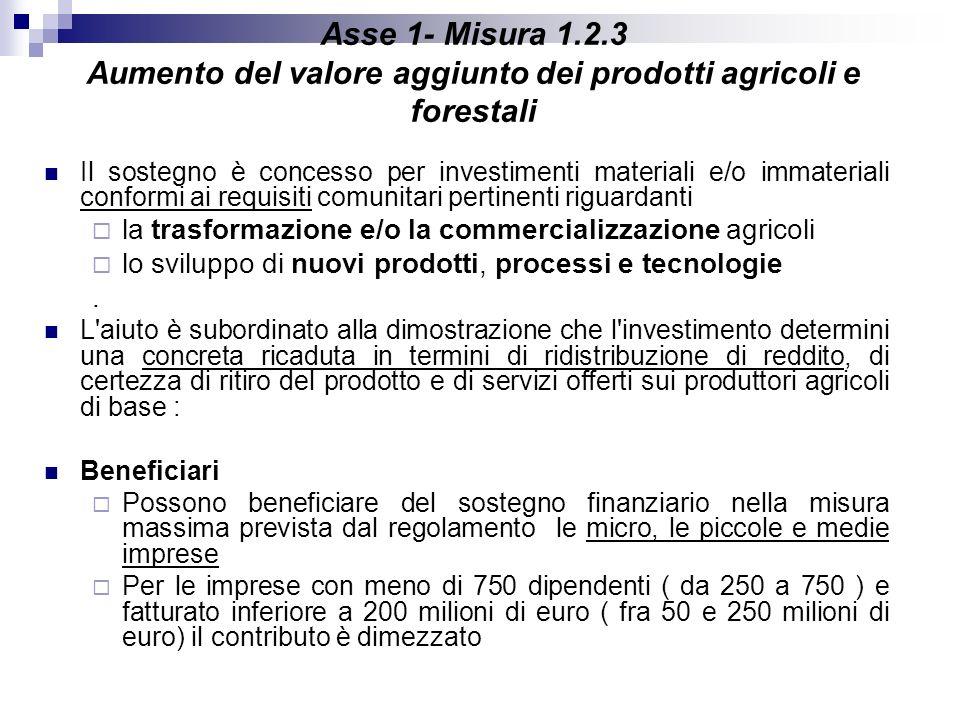 Asse 1- Misura 1.2.3 Aumento del valore aggiunto dei prodotti agricoli e forestali Il sostegno è concesso per investimenti materiali e/o immateriali c