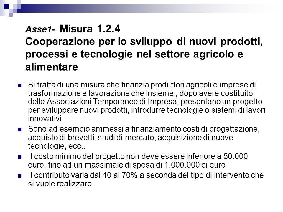 Asse1- Misura 1.2.4 Cooperazione per lo sviluppo di nuovi prodotti, processi e tecnologie nel settore agricolo e alimentare Si tratta di una misura ch