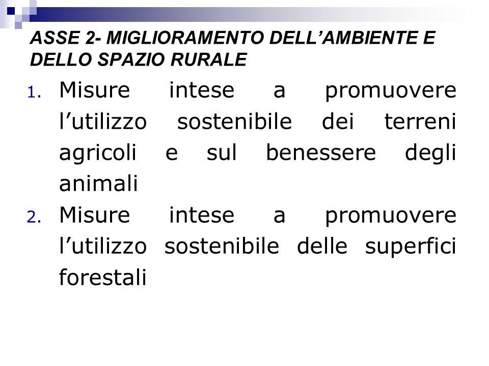 ASSE 2- MIGLIORAMENTO DELLAMBIENTE E DELLO SPAZIO RURALE 1. Misure intese a promuovere lutilizzo sostenibile dei terreni agricoli e sul benessere degl