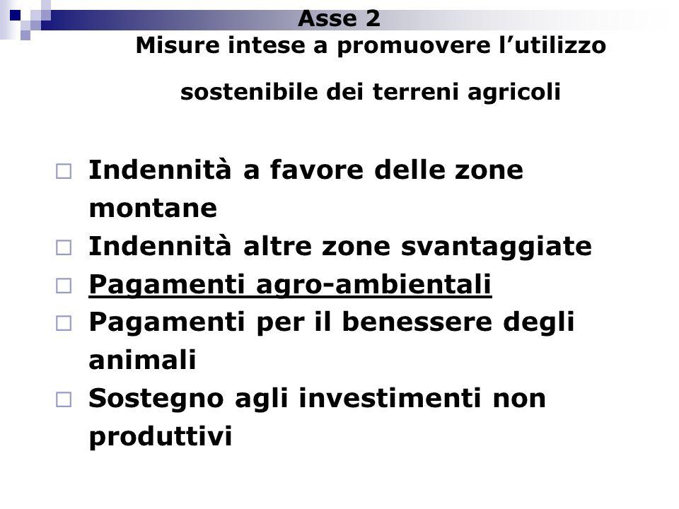Asse 2 Misure intese a promuovere lutilizzo sostenibile dei terreni agricoli Indennità a favore delle zone montane Indennità altre zone svantaggiate P
