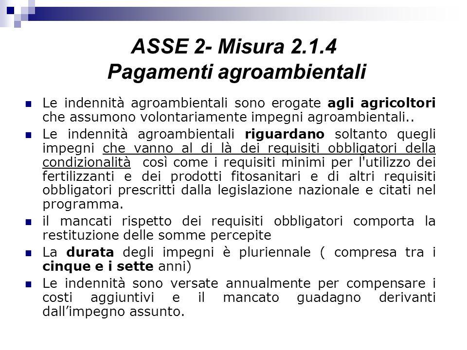 ASSE 2- Misura 2.1.4 Pagamenti agroambientali Le indennità agroambientali sono erogate agli agricoltori che assumono volontariamente impegni agroambie