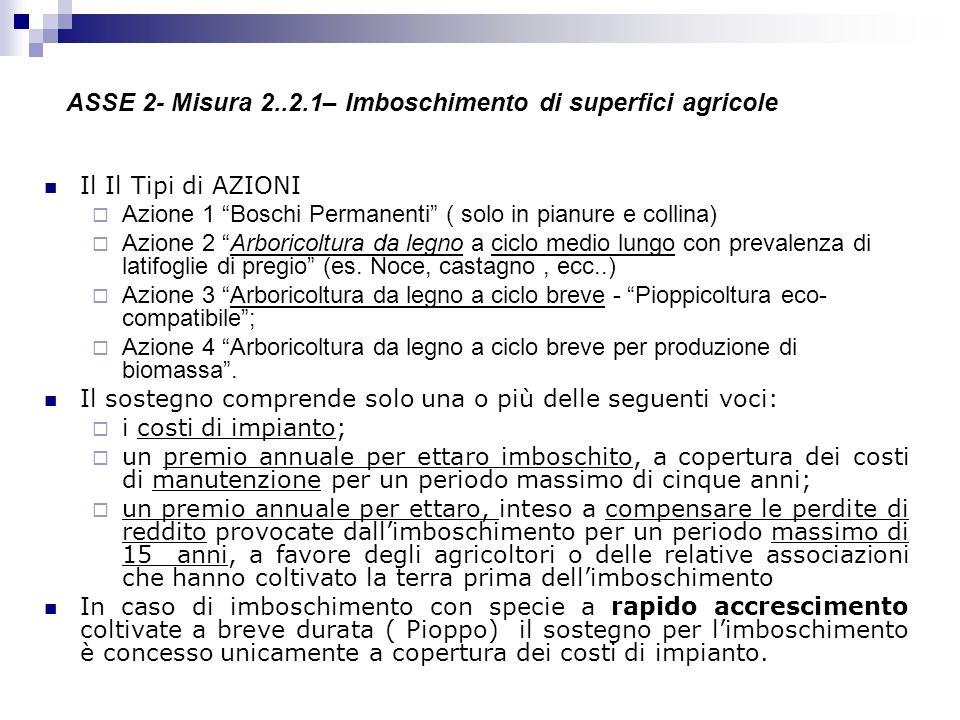 ASSE 2- Misura 2..2.1– Imboschimento di superfici agricole Il Il Tipi di AZIONI Azione 1 Boschi Permanenti ( solo in pianure e collina) Azione 2 Arbor