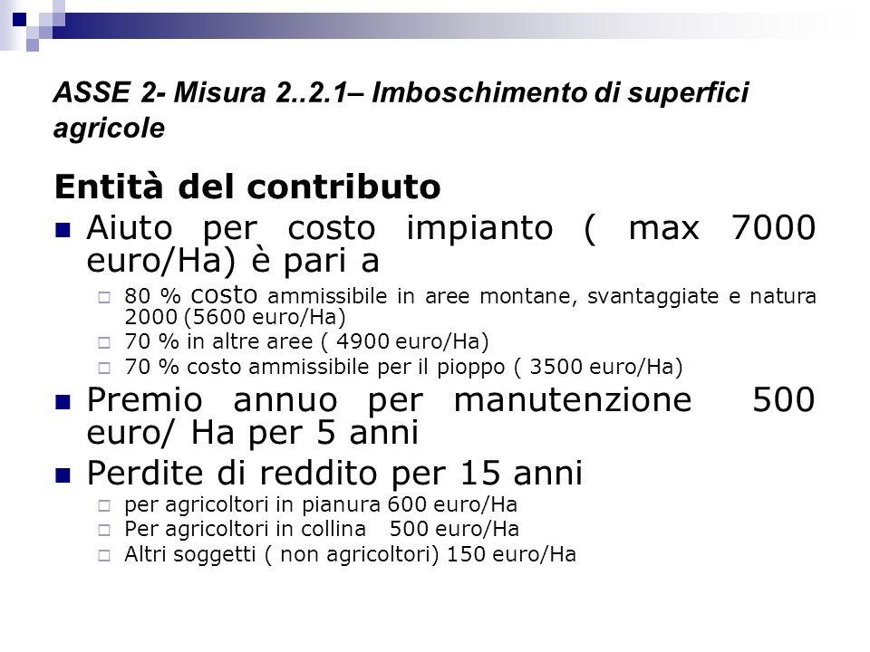 ASSE 2- Misura 2..2.1– Imboschimento di superfici agricole Entità del contributo Aiuto per costo impianto ( max 7000 euro/Ha) è pari a 80 % costo ammi
