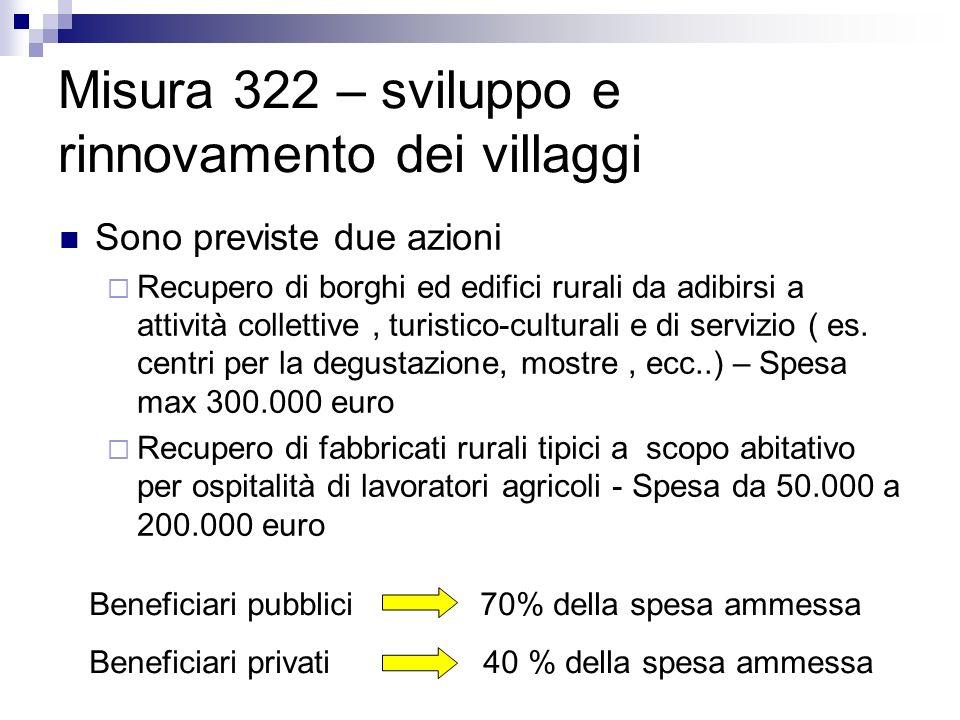 Misura 322 – sviluppo e rinnovamento dei villaggi Sono previste due azioni Recupero di borghi ed edifici rurali da adibirsi a attività collettive, tur