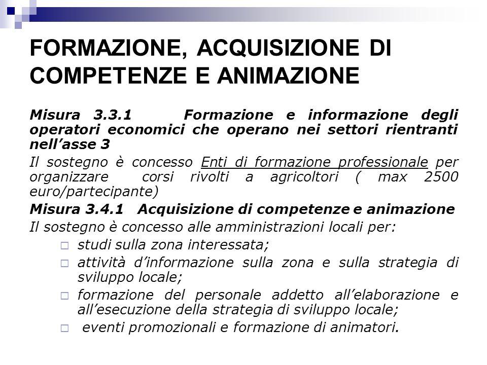 FORMAZIONE, ACQUISIZIONE DI COMPETENZE E ANIMAZIONE Misura 3.3.1 Formazione e informazione degli operatori economici che operano nei settori rientrant