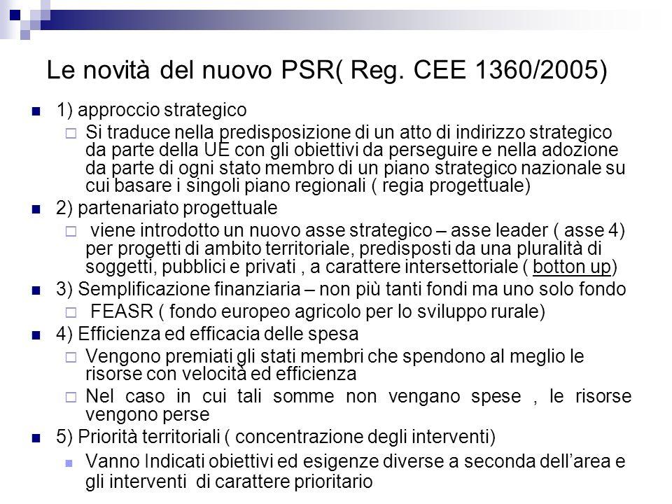 Le novità del nuovo PSR( Reg. CEE 1360/2005) 1) approccio strategico Si traduce nella predisposizione di un atto di indirizzo strategico da parte dell