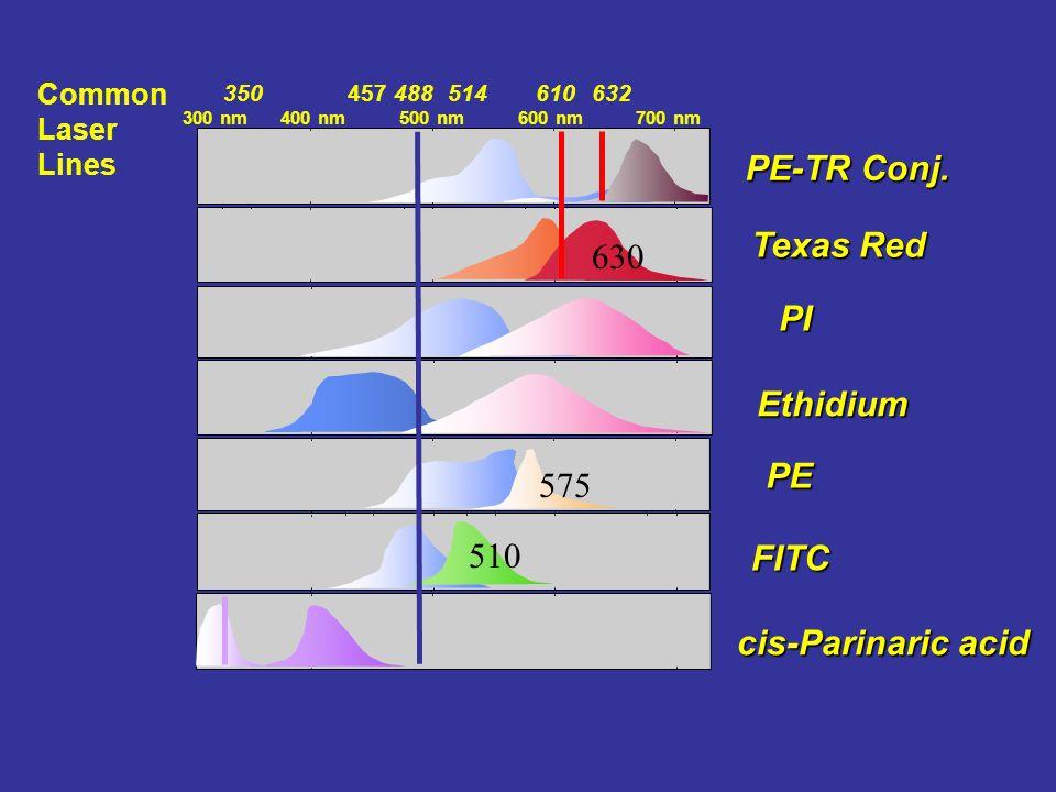 Ethidium PE cis-Parinaric acid Texas Red PE-TR Conj. PI FITC 600 nm300 nm500 nm700 nm 400 nm 457350514610632488 Common Laser Lines 510 575 630