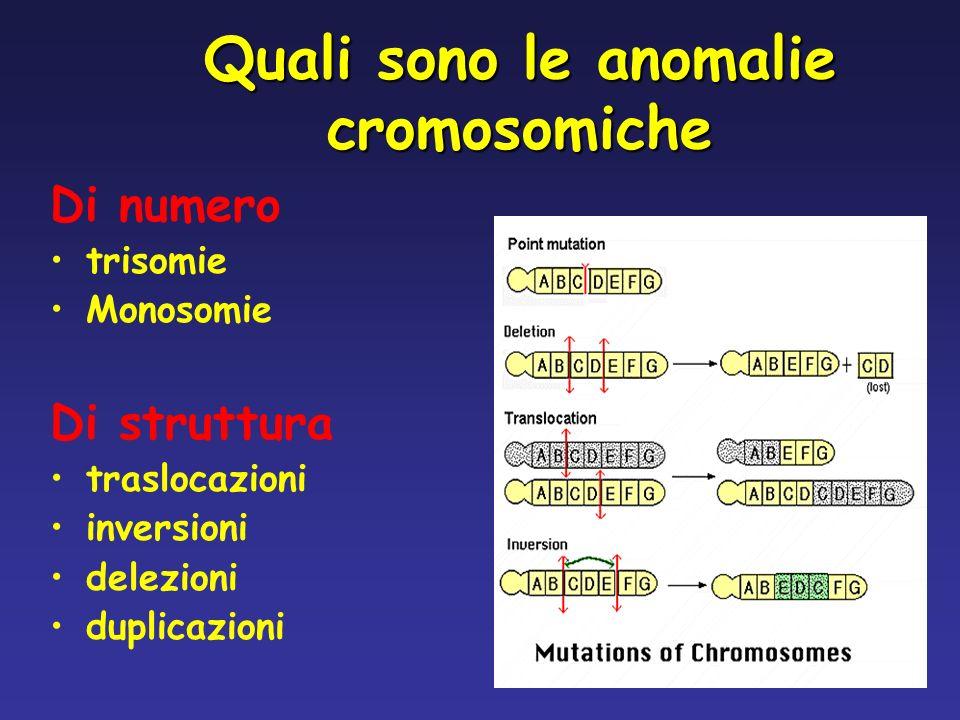 Quali sono le anomalie cromosomiche Di numero trisomie Monosomie Di struttura traslocazioni inversioni delezioni duplicazioni