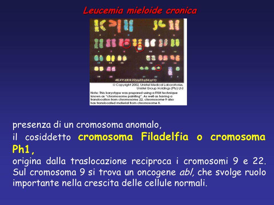 presenza di un cromosoma anomalo, il cosiddetto cromosoma Filadelfia o cromosoma Ph1, origina dalla traslocazione reciproca i cromosomi 9 e 22. Sul cr