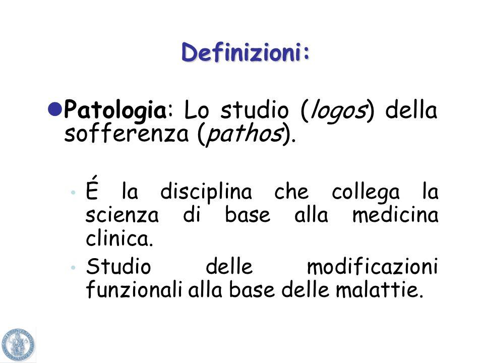Definizioni: Patologia: Lo studio (logos) della sofferenza (pathos).