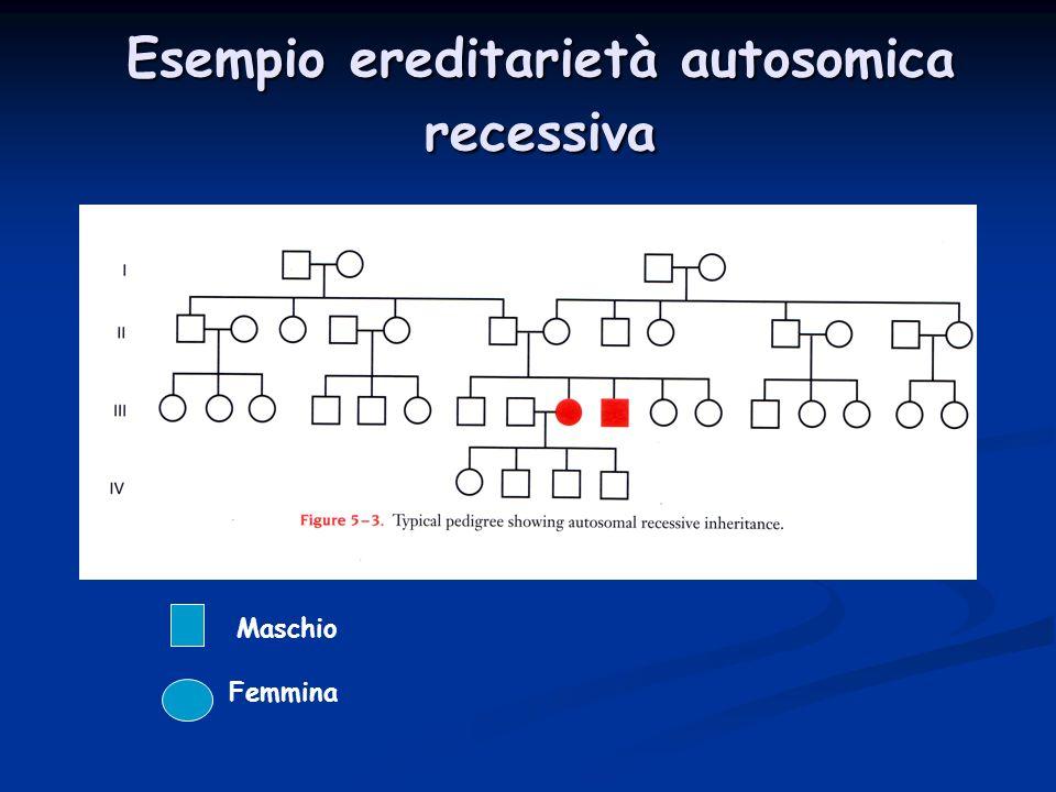 Esempio ereditarietà autosomica recessiva Maschio Femmina