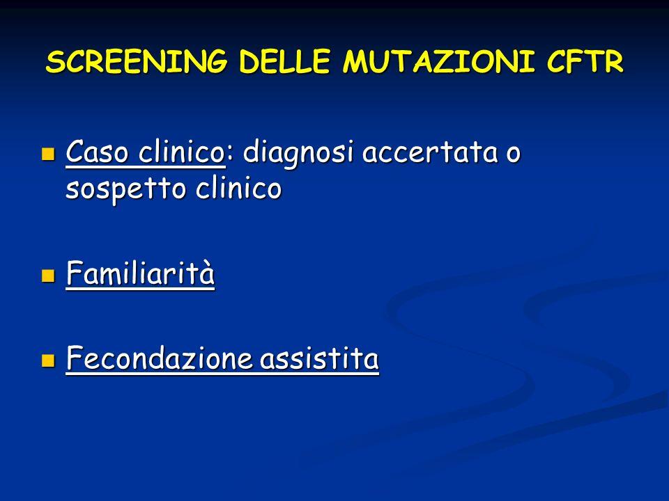 SCREENING DELLE MUTAZIONI CFTR Caso clinico: diagnosi accertata o sospetto clinico Caso clinico: diagnosi accertata o sospetto clinico Familiarità Fam