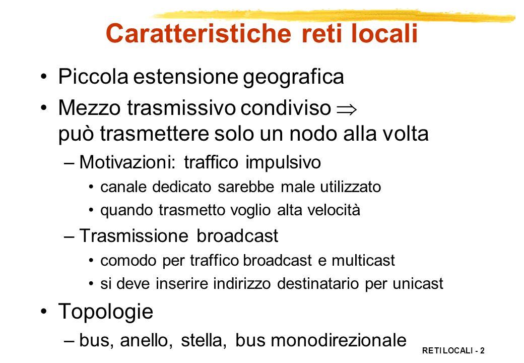 RETI LOCALI - 2 Caratteristiche reti locali Piccola estensione geografica Mezzo trasmissivo condiviso può trasmettere solo un nodo alla volta –Motivaz