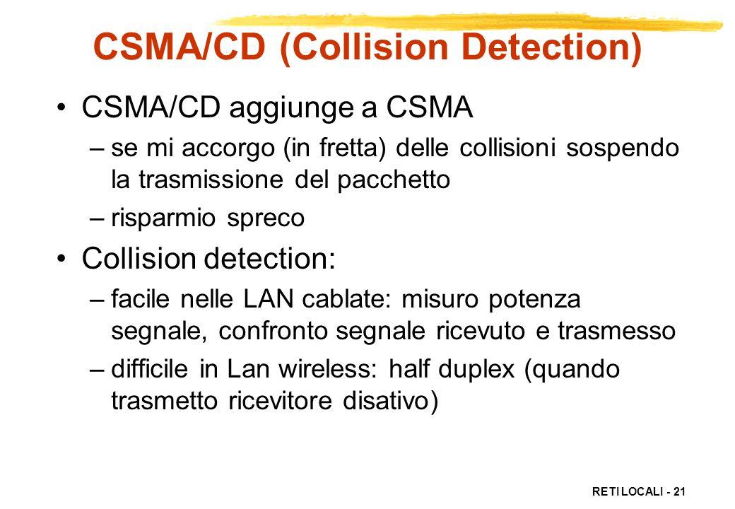 RETI LOCALI - 21 CSMA/CD (Collision Detection) CSMA/CD aggiunge a CSMA –se mi accorgo (in fretta) delle collisioni sospendo la trasmissione del pacche