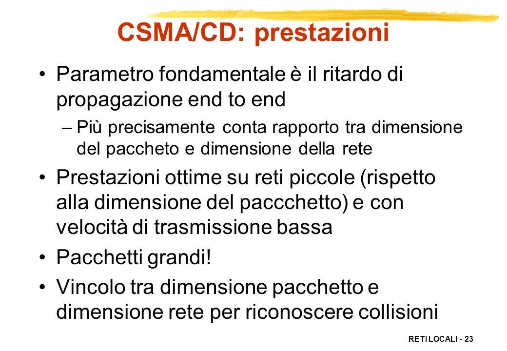 RETI LOCALI - 23 CSMA/CD: prestazioni Parametro fondamentale è il ritardo di propagazione end to end –Più precisamente conta rapporto tra dimensione d