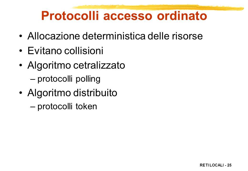 RETI LOCALI - 25 Protocolli accesso ordinato Allocazione deterministica delle risorse Evitano collisioni Algoritmo cetralizzato –protocolli polling Al