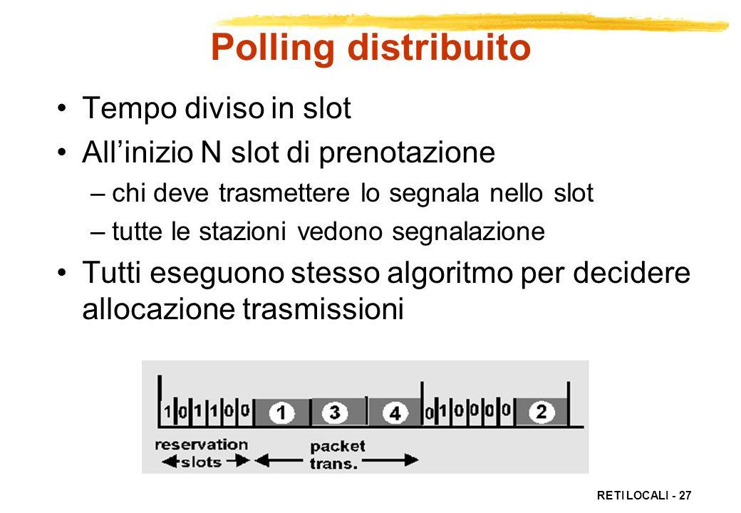 RETI LOCALI - 27 Polling distribuito Tempo diviso in slot Allinizio N slot di prenotazione –chi deve trasmettere lo segnala nello slot –tutte le stazi