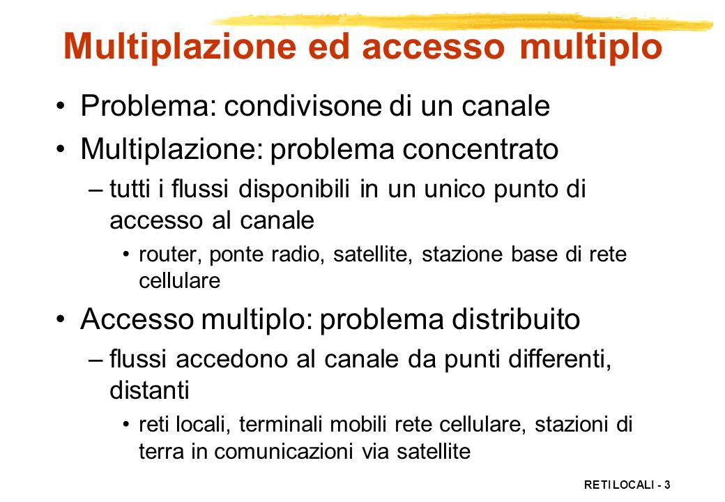RETI LOCALI - 3 Multiplazione ed accesso multiplo Problema: condivisone di un canale Multiplazione: problema concentrato –tutti i flussi disponibili i