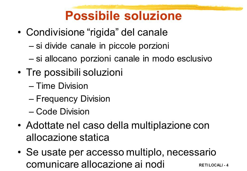 RETI LOCALI - 25 Protocolli accesso ordinato Allocazione deterministica delle risorse Evitano collisioni Algoritmo cetralizzato –protocolli polling Algoritmo distribuito –protocolli token