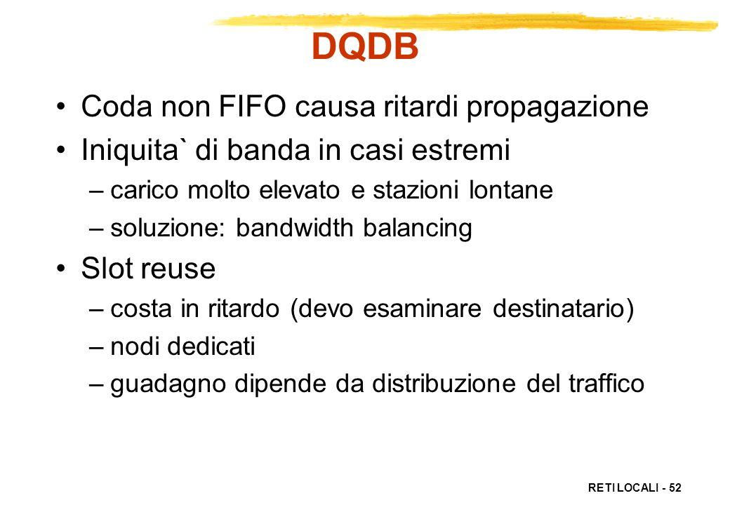 RETI LOCALI - 52 DQDB Coda non FIFO causa ritardi propagazione Iniquita` di banda in casi estremi –carico molto elevato e stazioni lontane –soluzione: