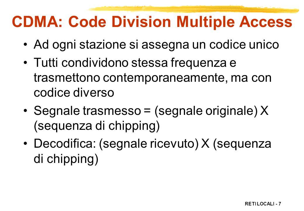 RETI LOCALI - 7 CDMA: Code Division Multiple Access Ad ogni stazione si assegna un codice unico Tutti condividono stessa frequenza e trasmettono conte