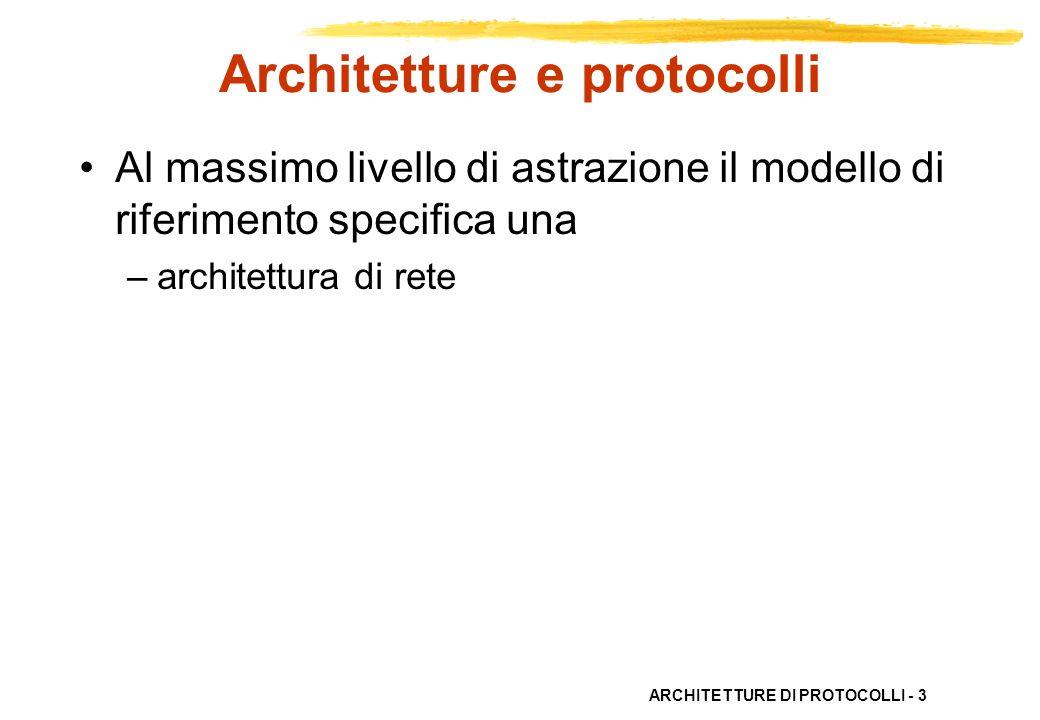 ARCHITETTURE DI PROTOCOLLI - 4 Architetture di protocolli Unarchitettura di rete definisce gli oggetti usati per descrivere –il processo di comunicazione –le relazioni tra tali oggetti –le funzioni necessarie per la comunicazione –le modalità organizzative delle funzioni