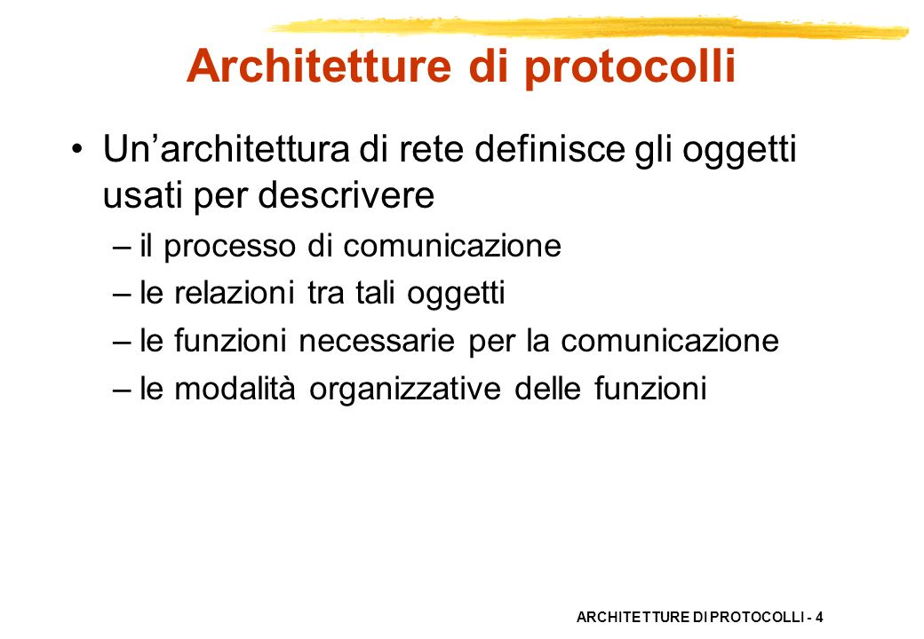 ARCHITETTURE DI PROTOCOLLI - 5 Architetture di protocolli Si usano architetture stratificate – semplicità di progetto – facilità di gestione – semplicità di standardizzazione – separazione di funzioni