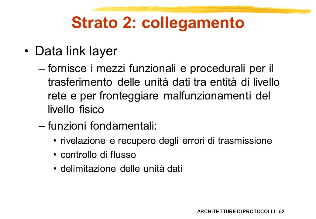 ARCHITETTURE DI PROTOCOLLI - 52 Strato 2: collegamento Data link layer –fornisce i mezzi funzionali e procedurali per il trasferimento delle unità dat