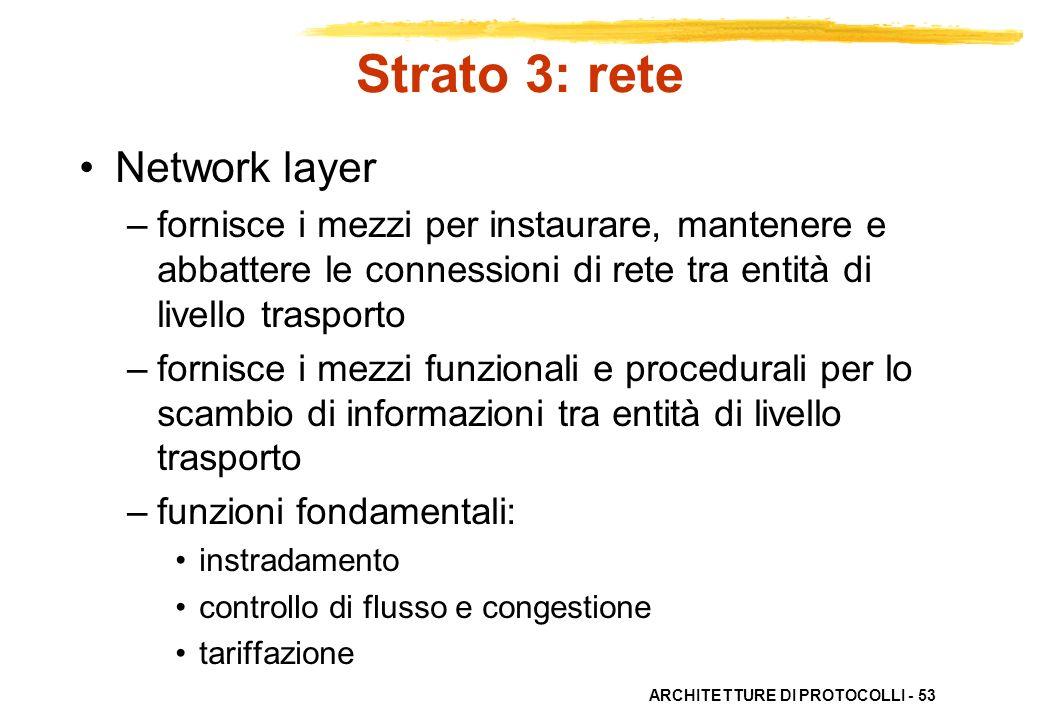 ARCHITETTURE DI PROTOCOLLI - 53 Strato 3: rete Network layer –fornisce i mezzi per instaurare, mantenere e abbattere le connessioni di rete tra entità