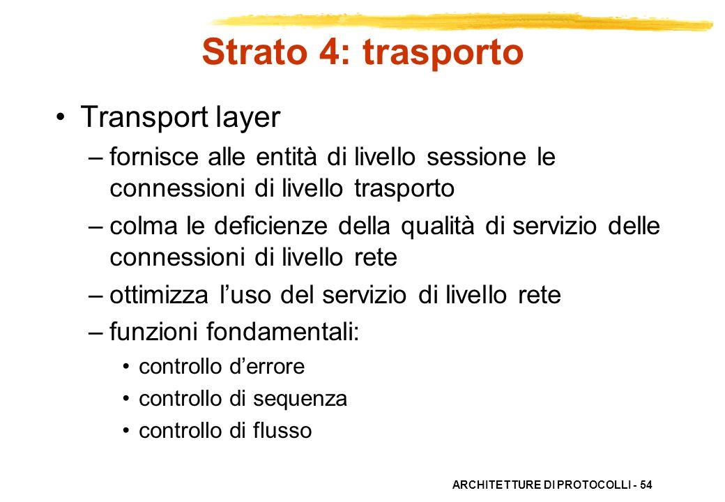 ARCHITETTURE DI PROTOCOLLI - 54 Strato 4: trasporto Transport layer –fornisce alle entità di livello sessione le connessioni di livello trasporto –col