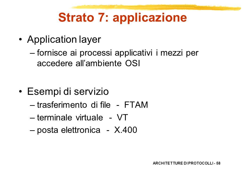 ARCHITETTURE DI PROTOCOLLI - 58 Strato 7: applicazione Application layer –fornisce ai processi applicativi i mezzi per accedere allambiente OSI Esempi