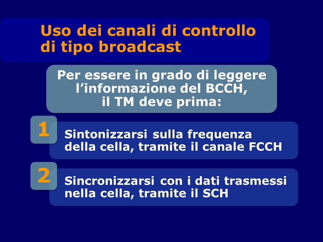 2 1 Sintonizzarsi sulla frequenza della cella, tramite il canale FCCH Per essere in grado di leggere linformazione del BCCH, il TM deve prima: Sincronizzarsi con i dati trasmessi nella cella, tramite il SCH Uso dei canali di controllo di tipo broadcast