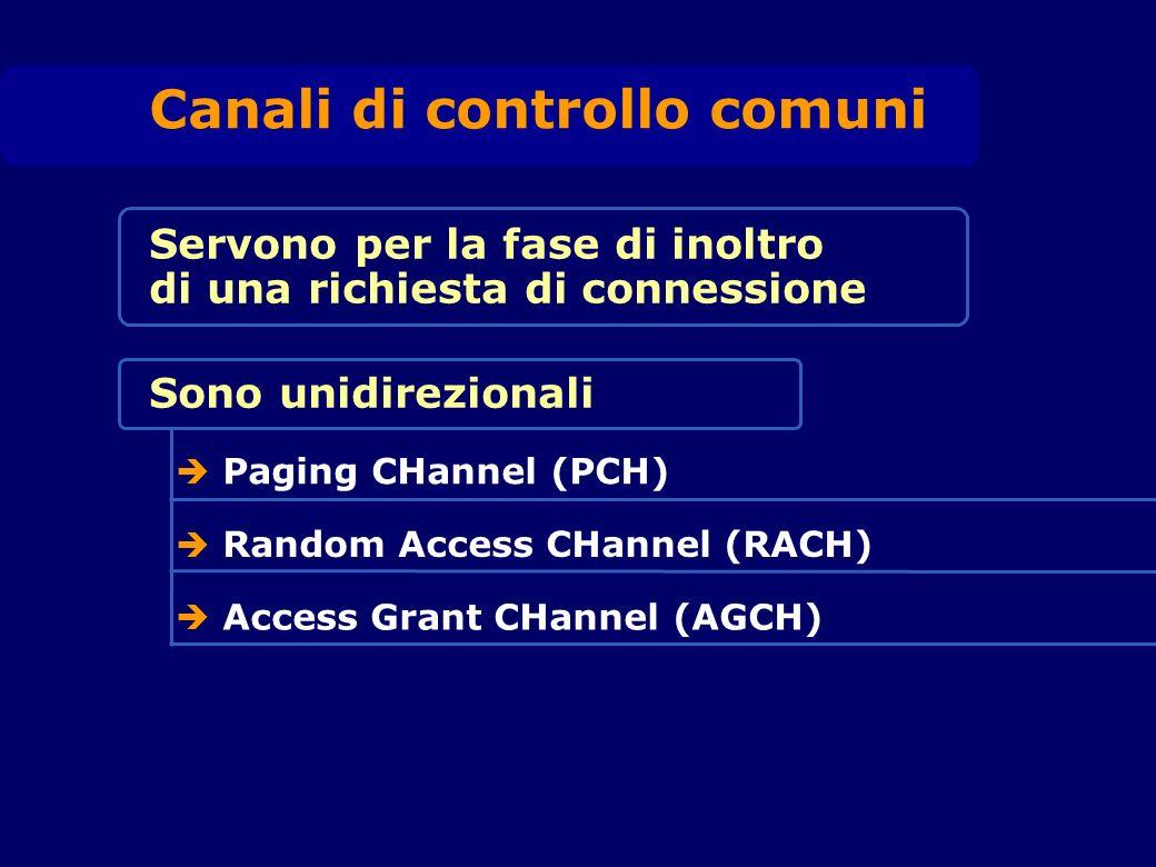 Servono per la fase di inoltro di una richiesta di connessione Canali di controllo comuni Sono unidirezionali Paging CHannel (PCH) Random Access CHannel (RACH) Access Grant CHannel (AGCH)