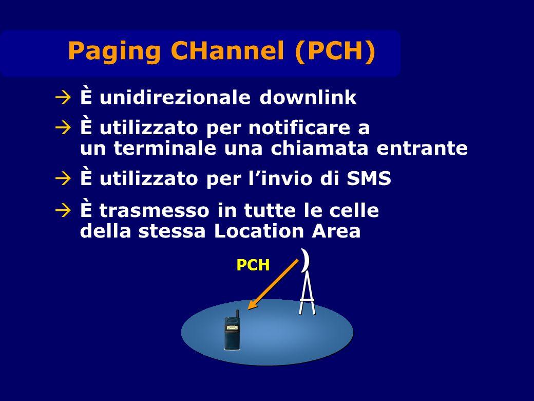 È unidirezionale downlink È utilizzato per notificare a un terminale una chiamata entrante Paging CHannel (PCH) È utilizzato per linvio di SMS È trasmesso in tutte le celle della stessa Location Area PCH