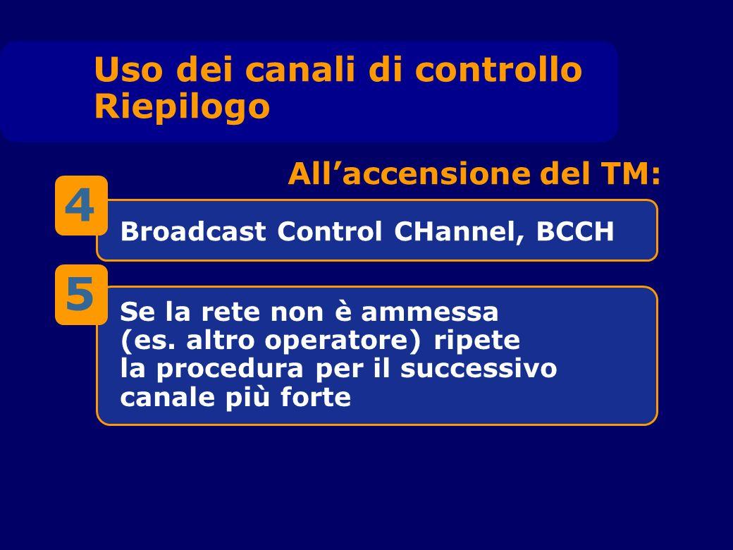 Broadcast Control CHannel, BCCH Se la rete non è ammessa (es.