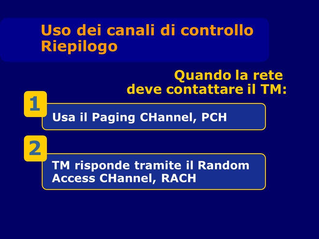 Usa il Paging CHannel, PCH TM risponde tramite il Random Access CHannel, RACH Quando la rete deve contattare il TM: Uso dei canali di controllo Riepilogo 1 2