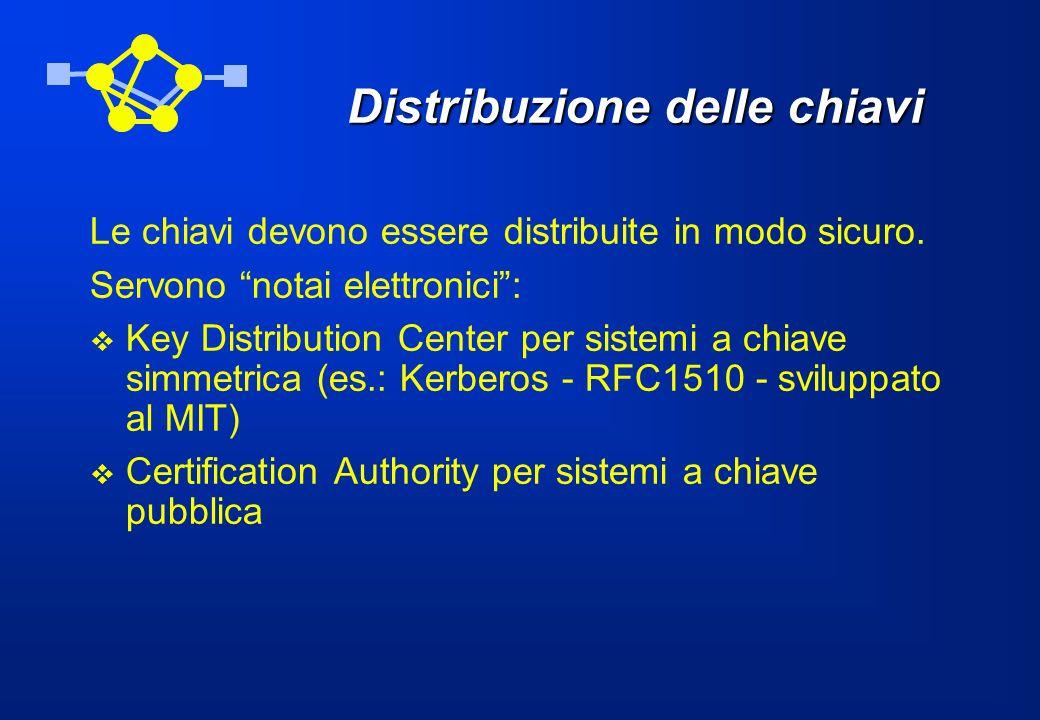 Key Distribution Center Il server del KDC ha una chiave simmetrica segreta K X,KDC per ogni utente registrato X.