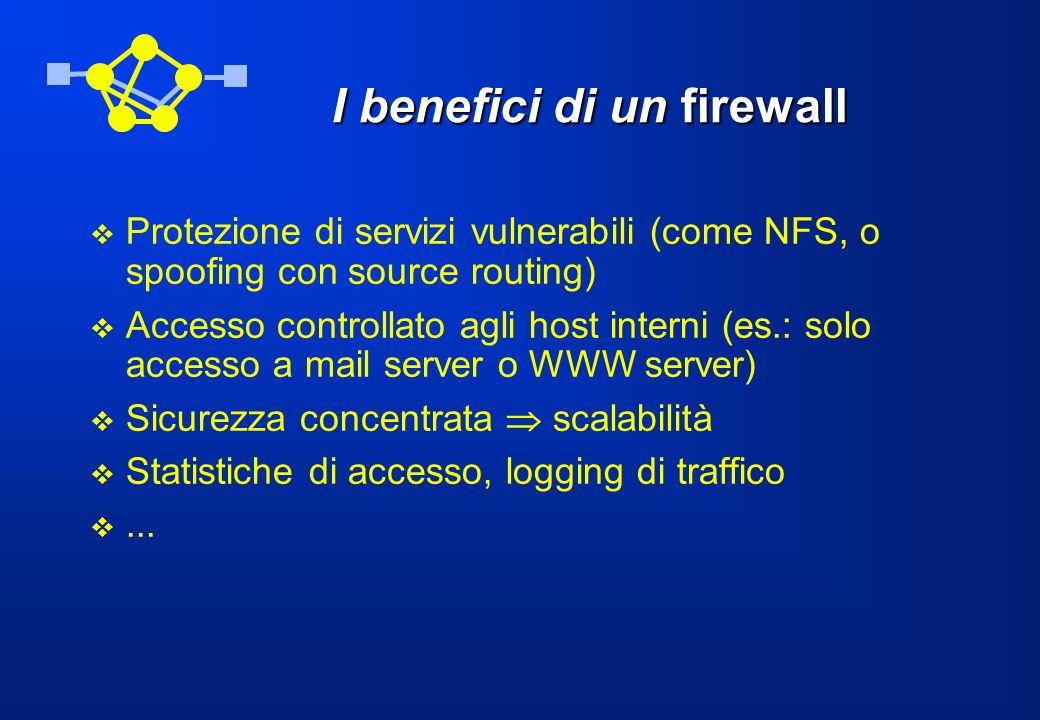 Funzionalità di un firewall Politica di accesso alla rete meccanismi avanzati di autenticazione filtraggio dei pacchetti funzioni di proxy … combinazioni delle singole funzionalità
